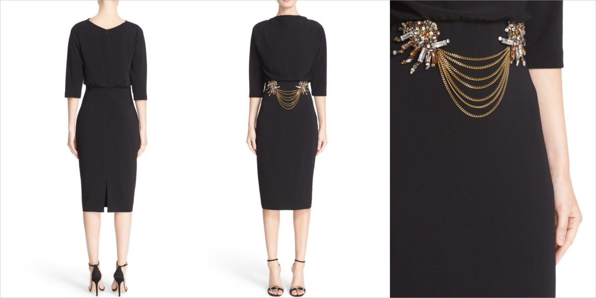 badgley mischka couture embellished blouson midi dress