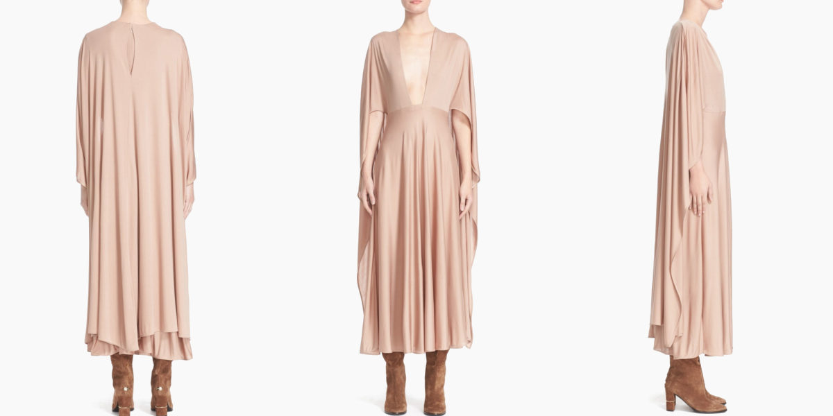 valentino cape back silk jersey dress