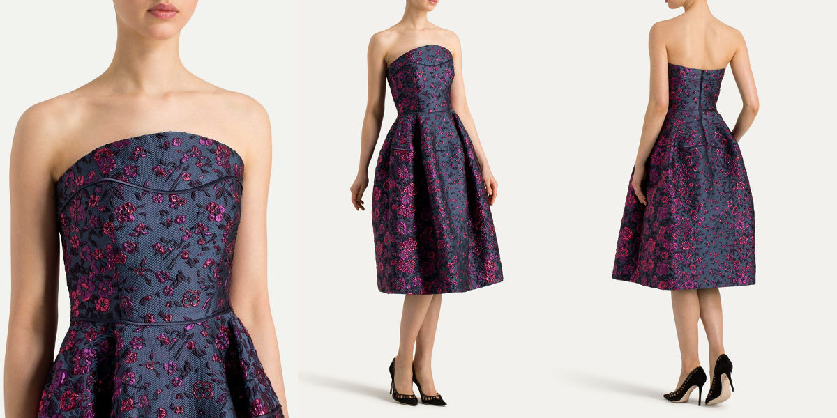 talbot runhof strapless dégradé brocade dress