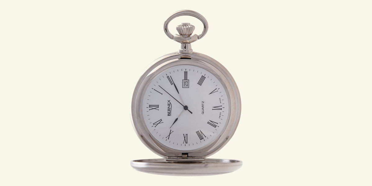 bernex rhodium plated pocket watch