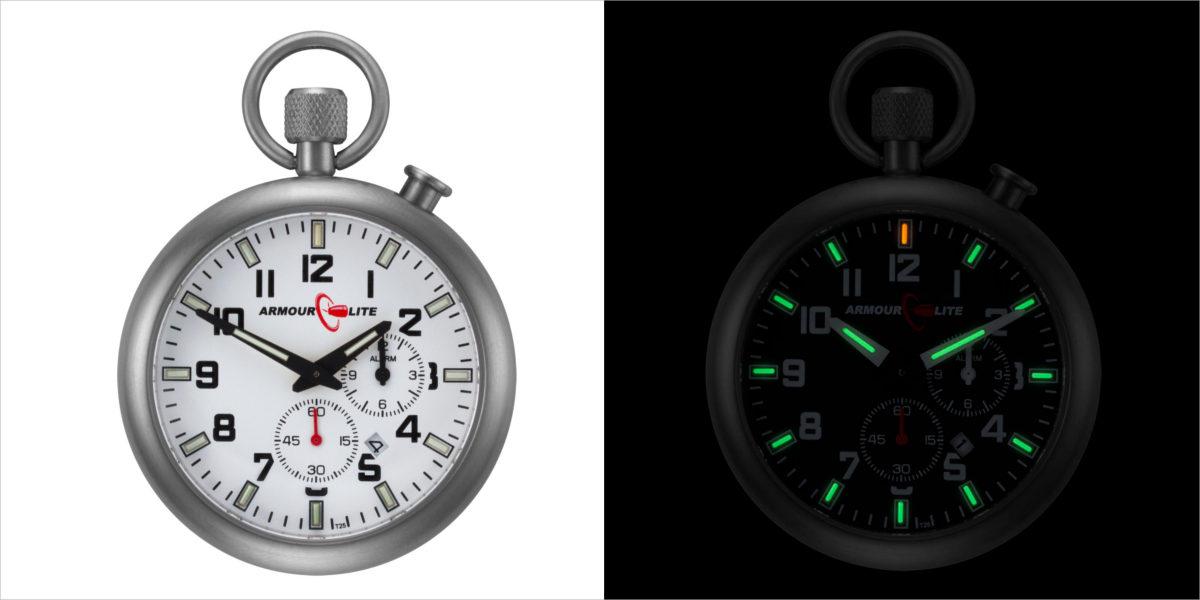 armourlite black dial tritium pocket watch