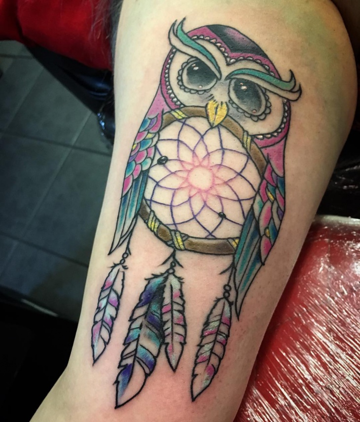 owl dreamcatcher arm tattoo ideas