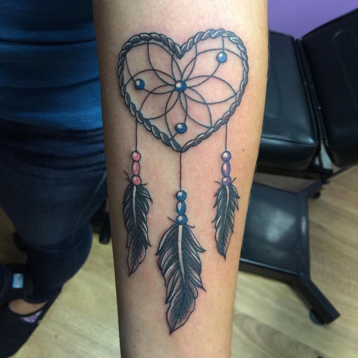 heart shaped dreamcatcher tattoo