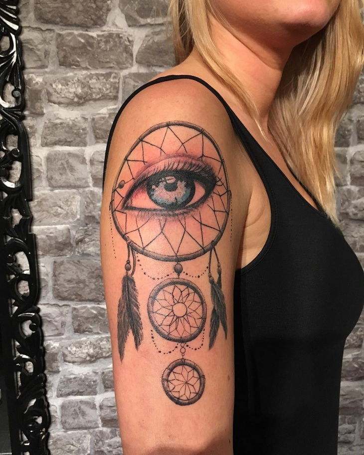 dreamcatcher half sleeve tattoo