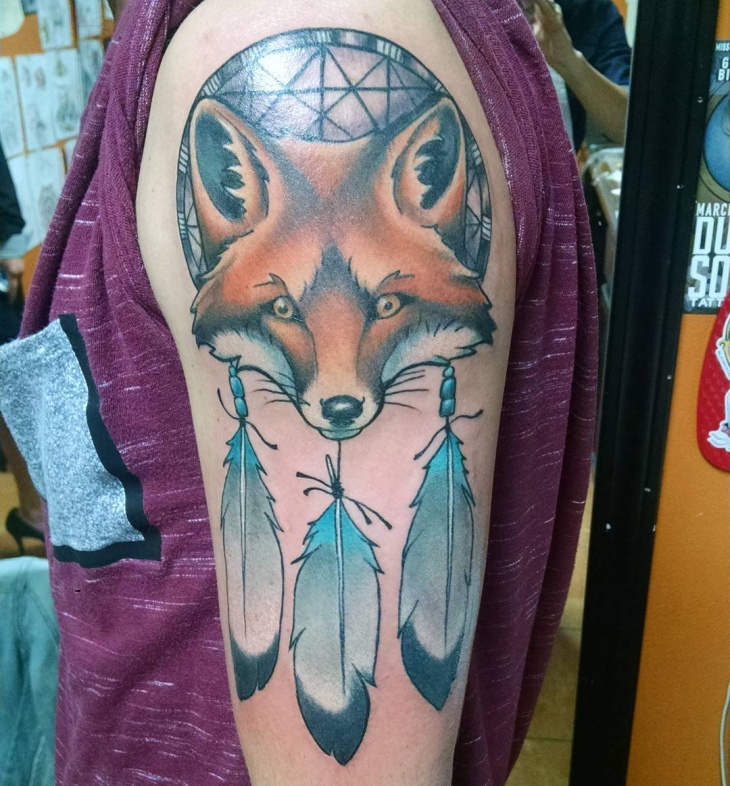 wolf head dreamcatcher tattoo