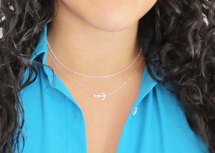 sideways anchor necklace