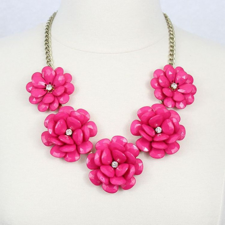 pink flower statement necklace