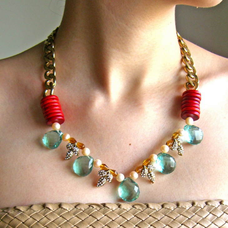 gemstone long statement necklace