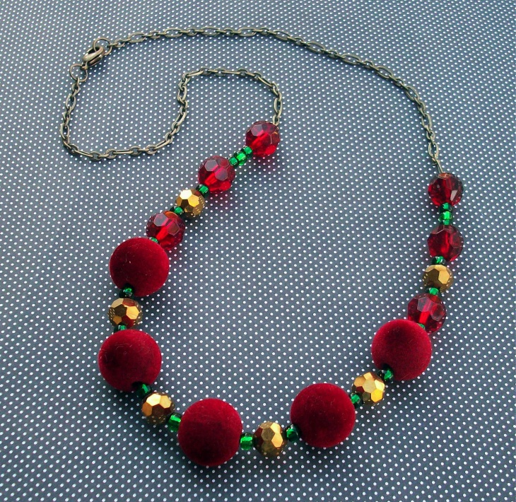 velvet beaded statement necklace