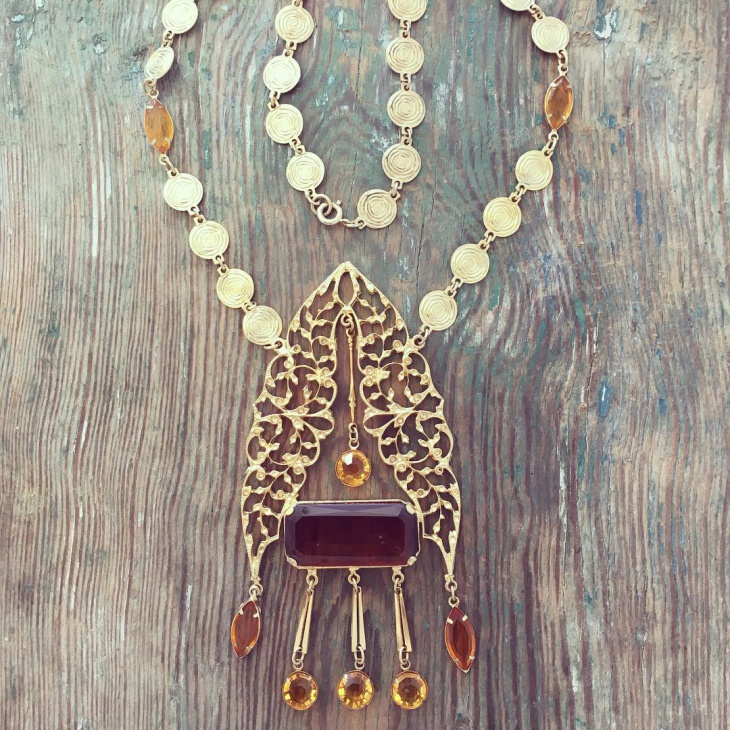 gold vintage statement necklace