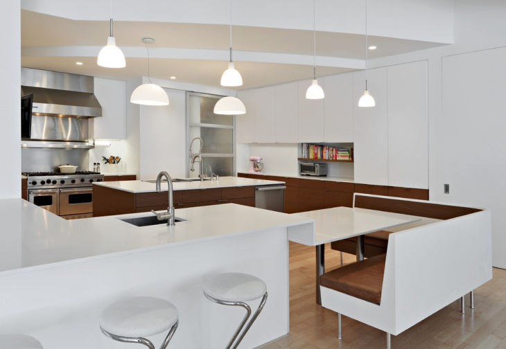 modern white kitchen table