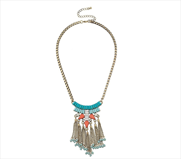 turquoise fringe statement necklace