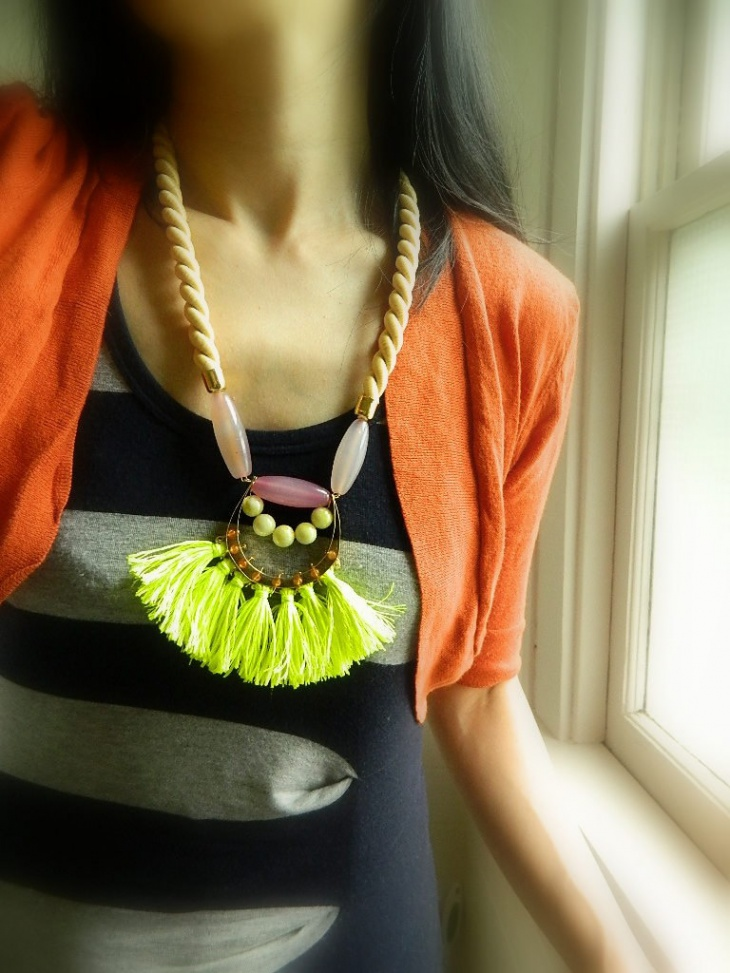 neon yellow statement necklace design