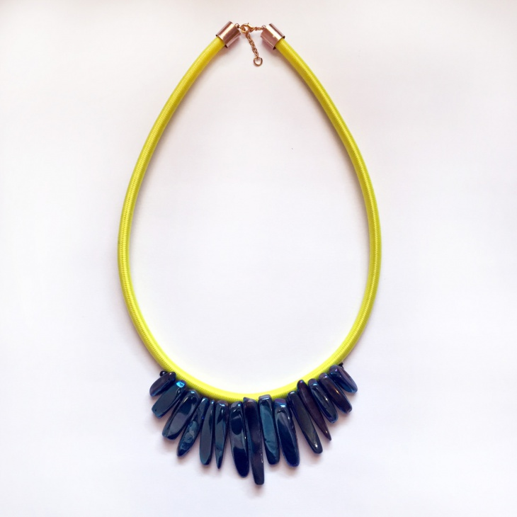 crystal neon statement necklace