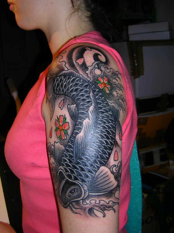 tribal koi fish tattoo on sleeve1