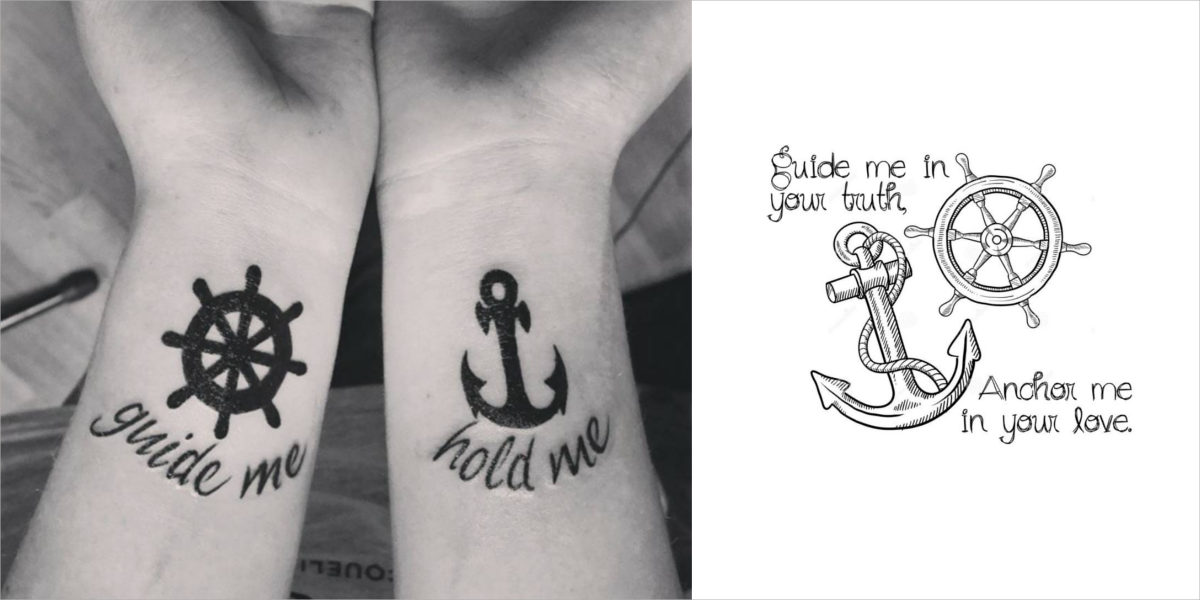 wheel and anchor tattoo