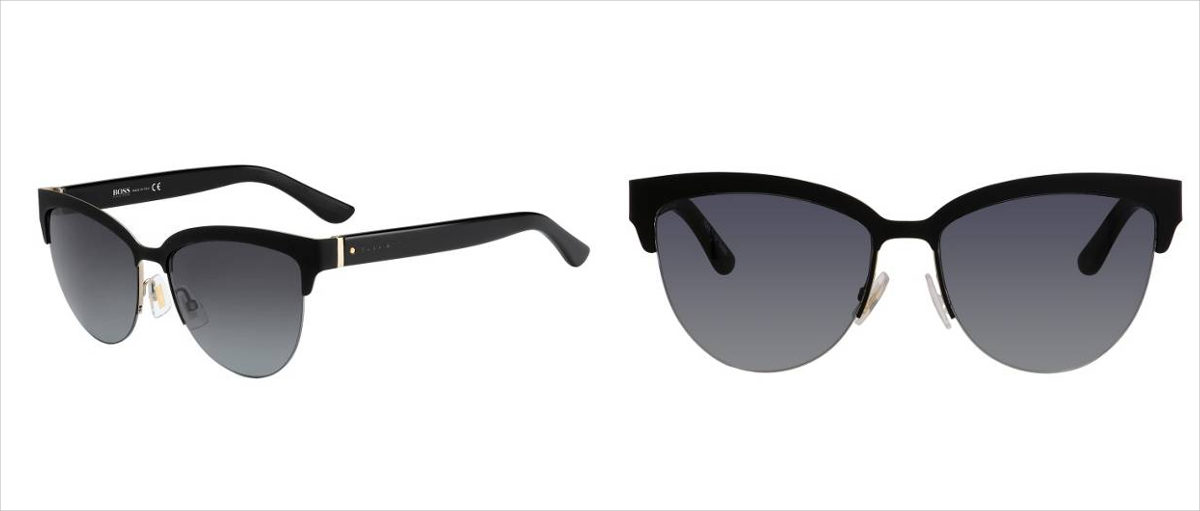 Boss 678s' Black Lenses Half-frame Cateye Sunglasses