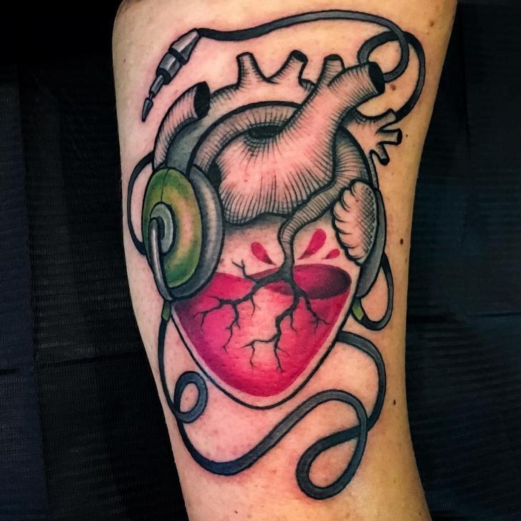 3d music heart tattoo