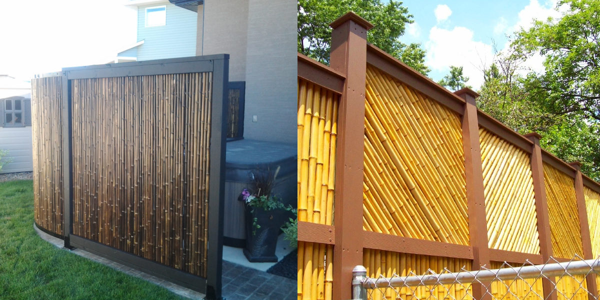 bamboo fence with wooden frame