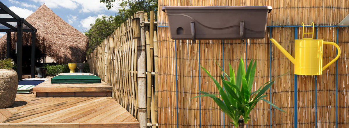 bamboo garden fence and wooden surrounding