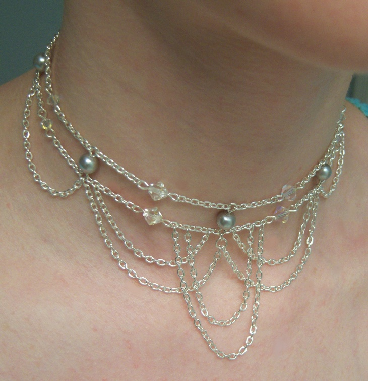 silver choker layered necklaces