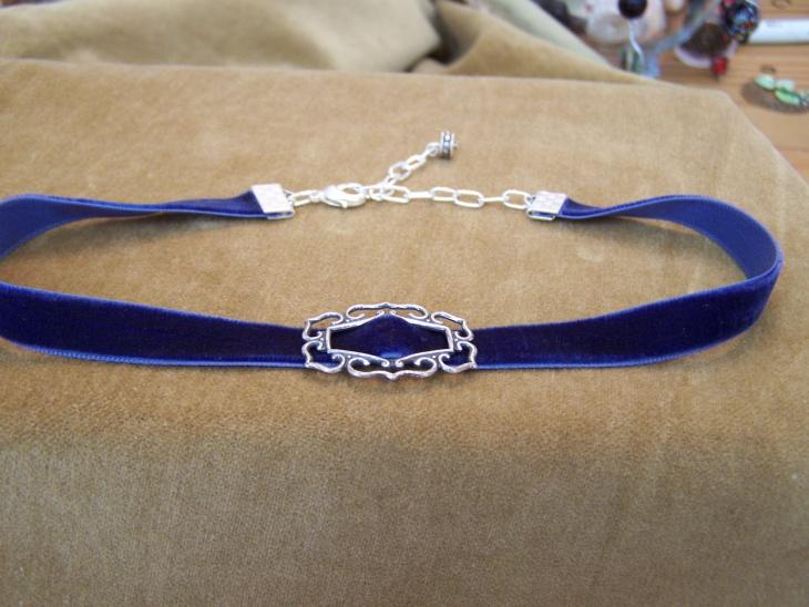 silver and velvet choker necklace