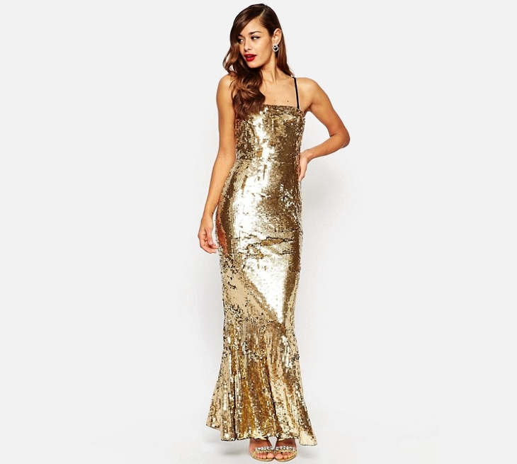 gold maxi sequin dress