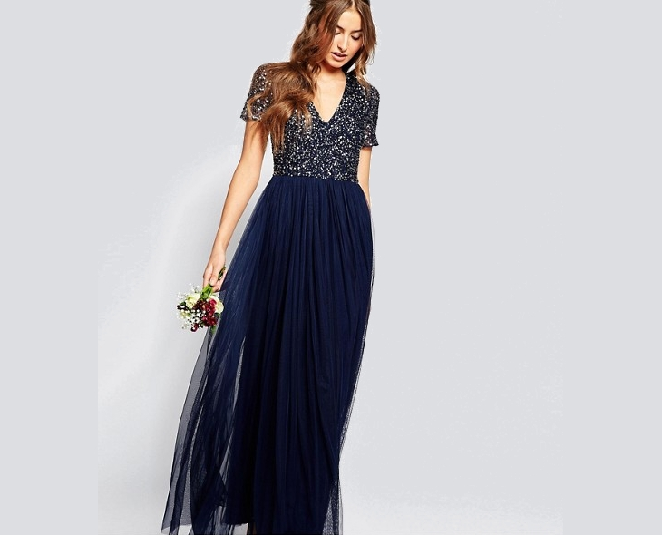 navy sequin bridesmaid dress