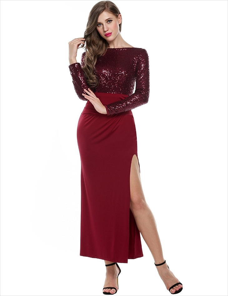 long sequin full sleeve dress