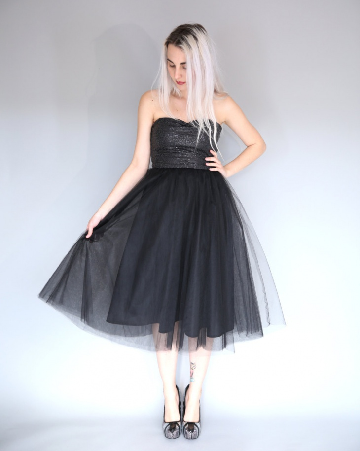 strapless sequin tulle dress