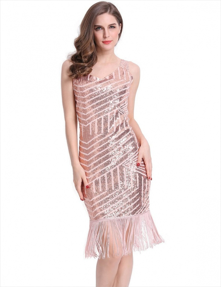 geometric pattern sequin dress