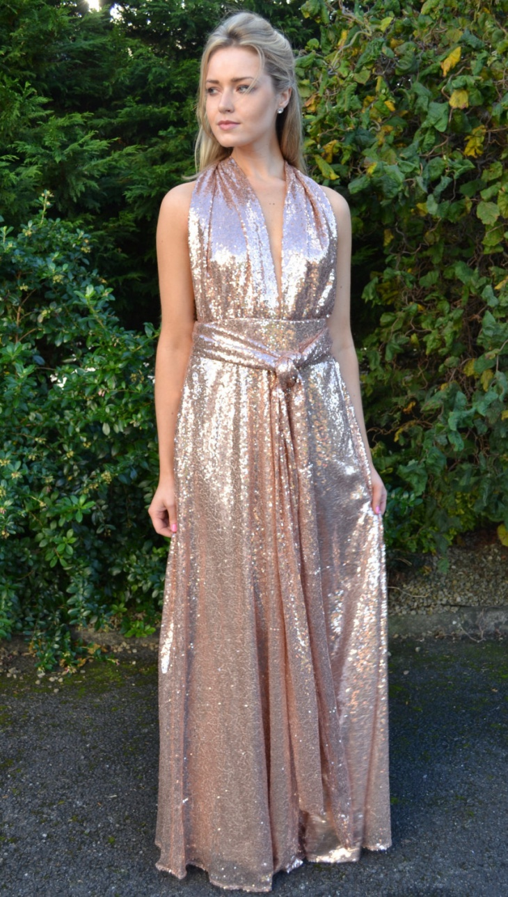 sequin wrap maxi dress