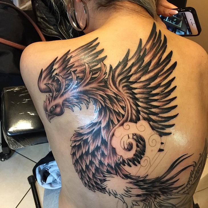 back phoenix tattoo for women