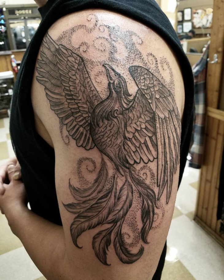 black phoenix tattoo for arm