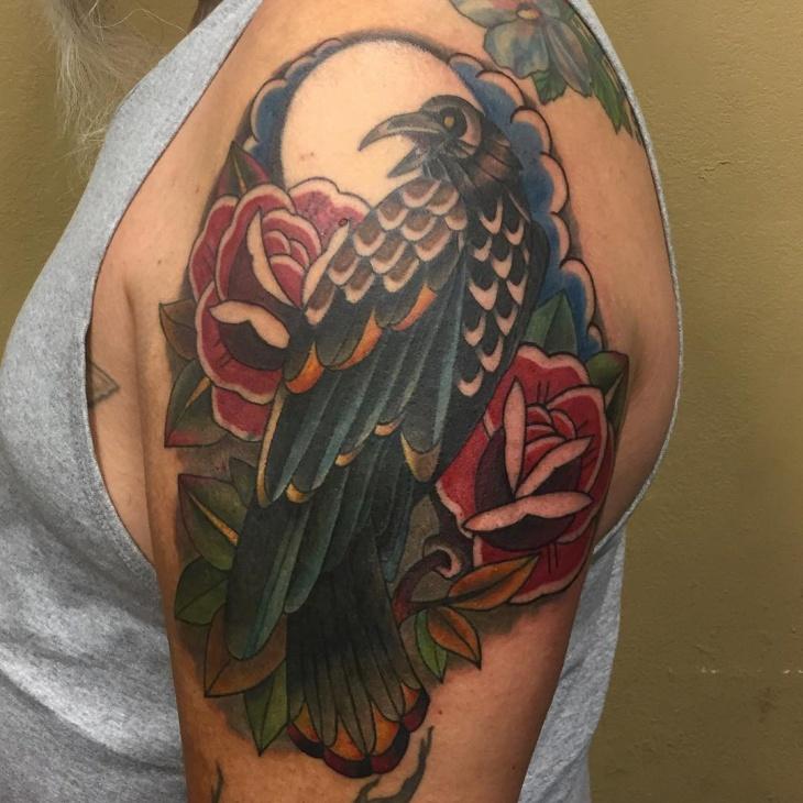 phoenix flower tattoo on sleeve