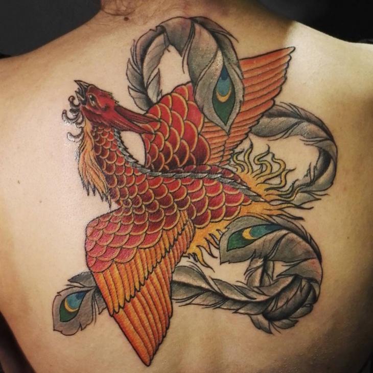 evil phoenix tattoo design for back