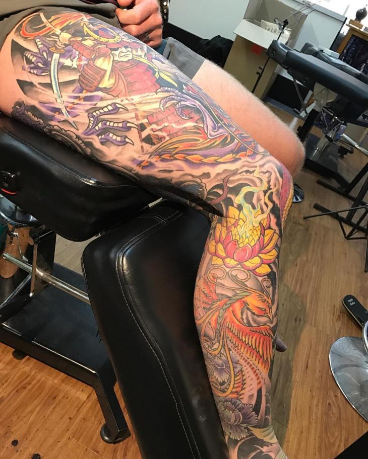 full phoenix leg tattoo