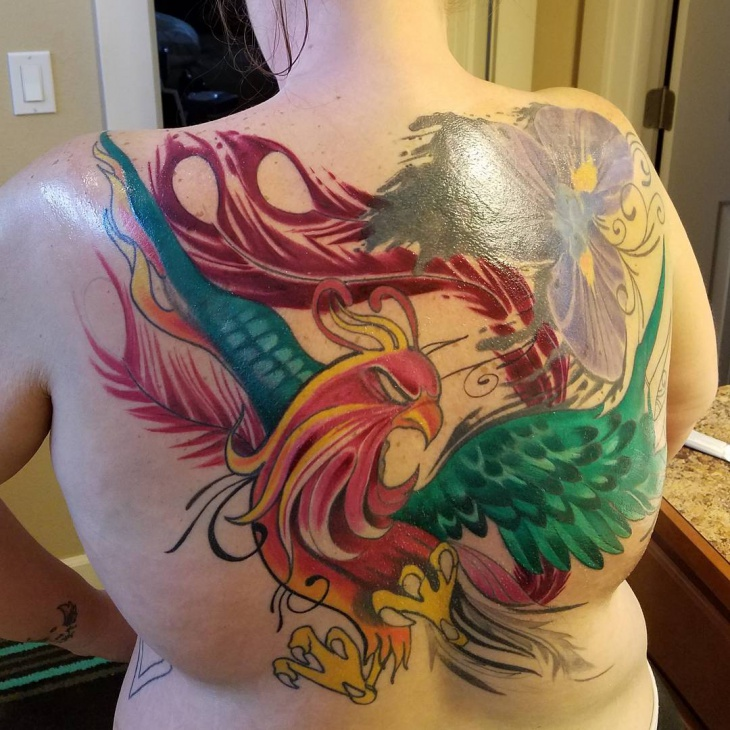 3d phoenix tattoo for women