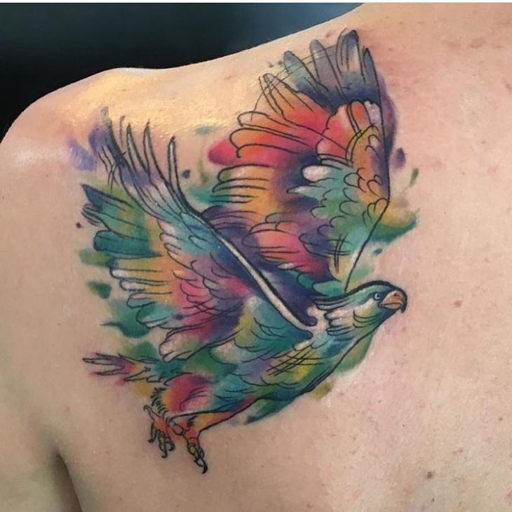 back shoulder phoenix tattoo
