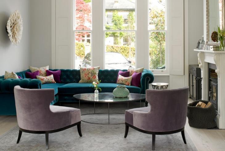 velvet tufted sectional sofa