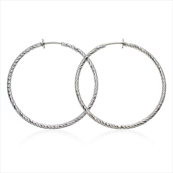 silver clip on hoop earrings
