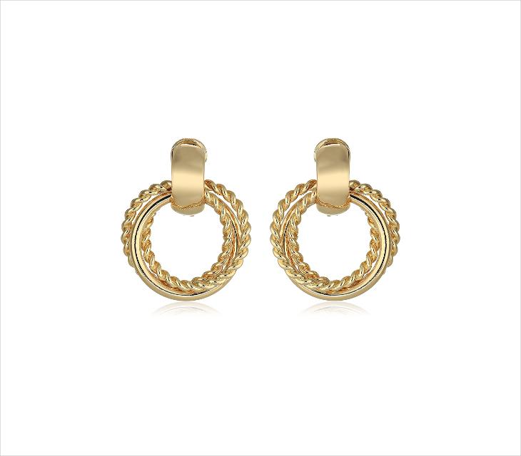 gold clip on hoop earrings