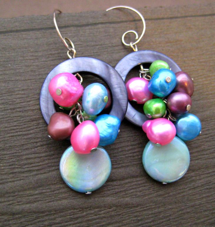 colorful pearl hoop earrings1