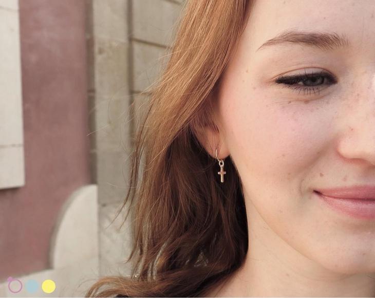 gold cross hoop earrings