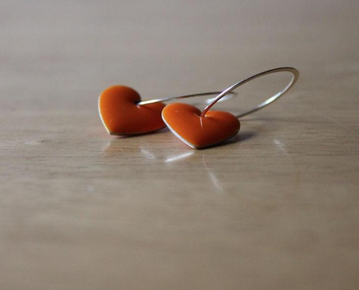 orange heart hoop earrings