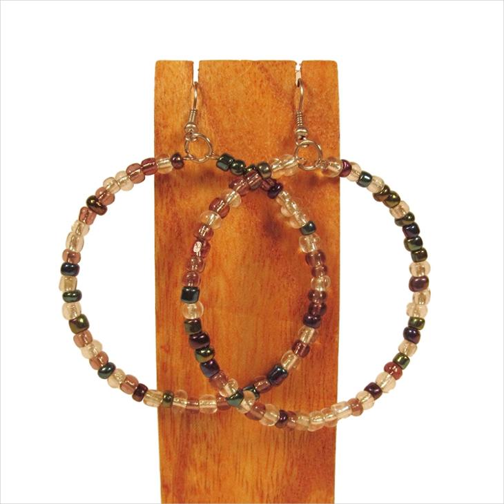 seed beaded hoop earrings