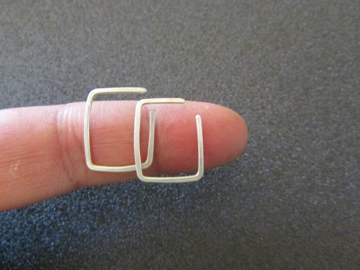 tiny square hoop earrings