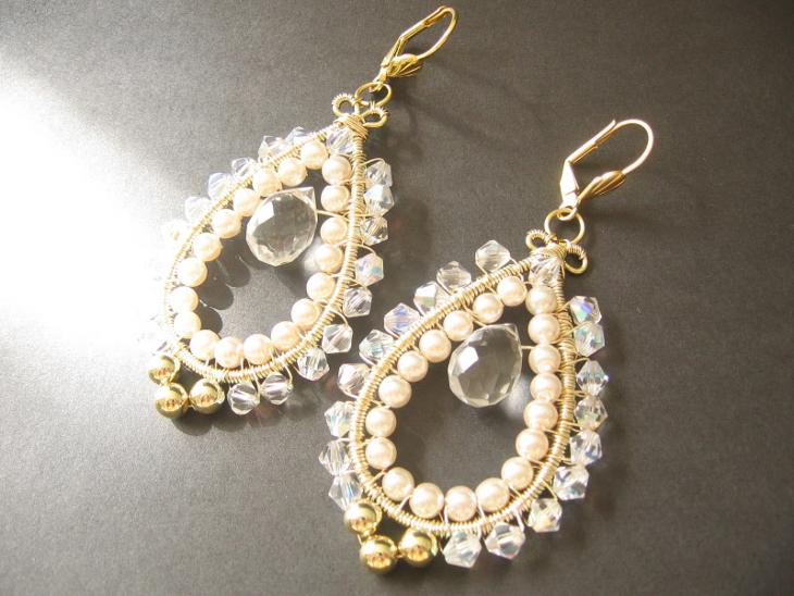 wire wrapped crystal hoop earrings1