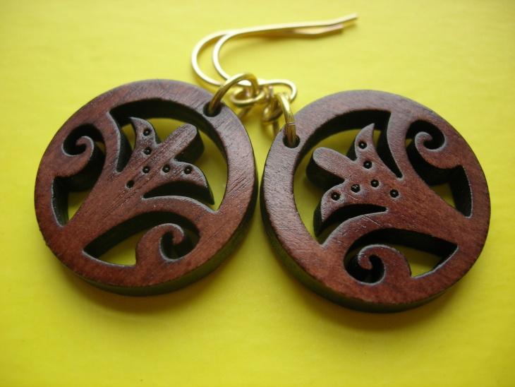 hippie wooden hoop earrings