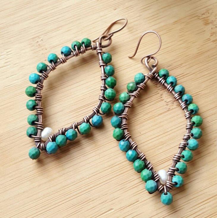 turquoise wire hoop earrings